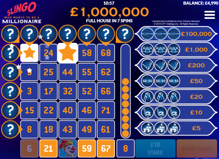 Slingo Who Wants To Be A Millionaire demo