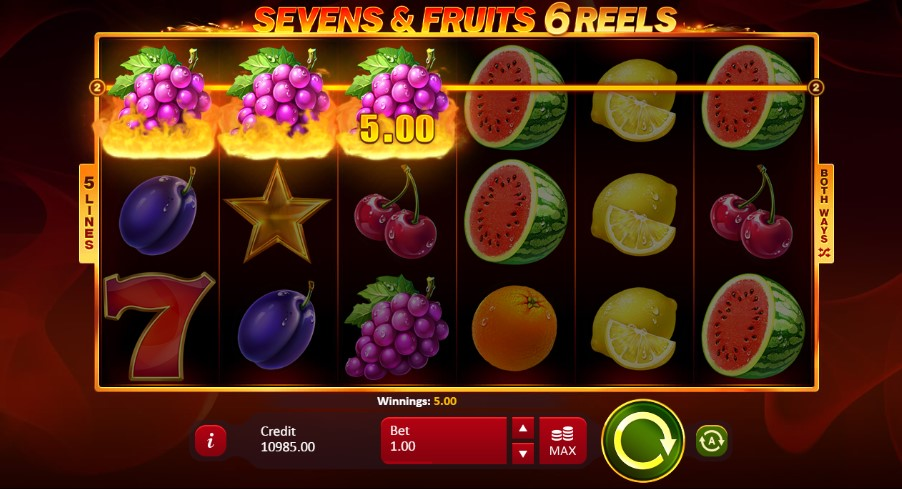 Sevens and Fruits: 6 Reels  demo