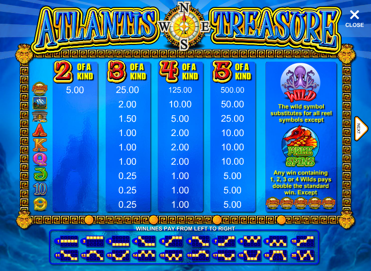 Atlantis Treasure free play