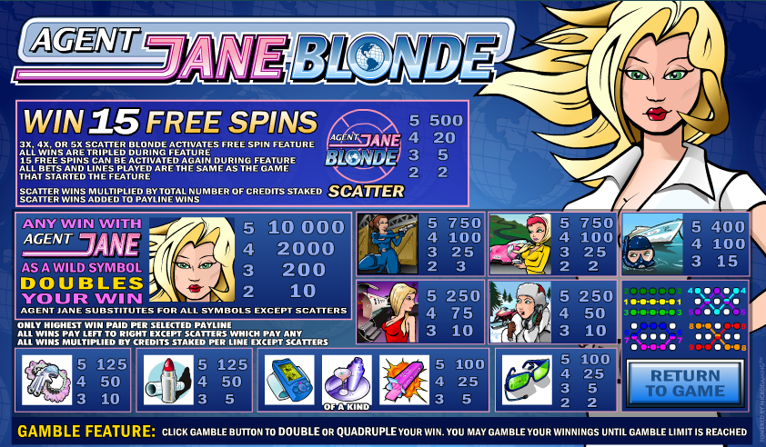 Agent Jane Blonde free play