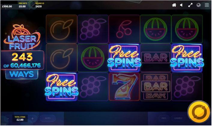 laser fruit free spins