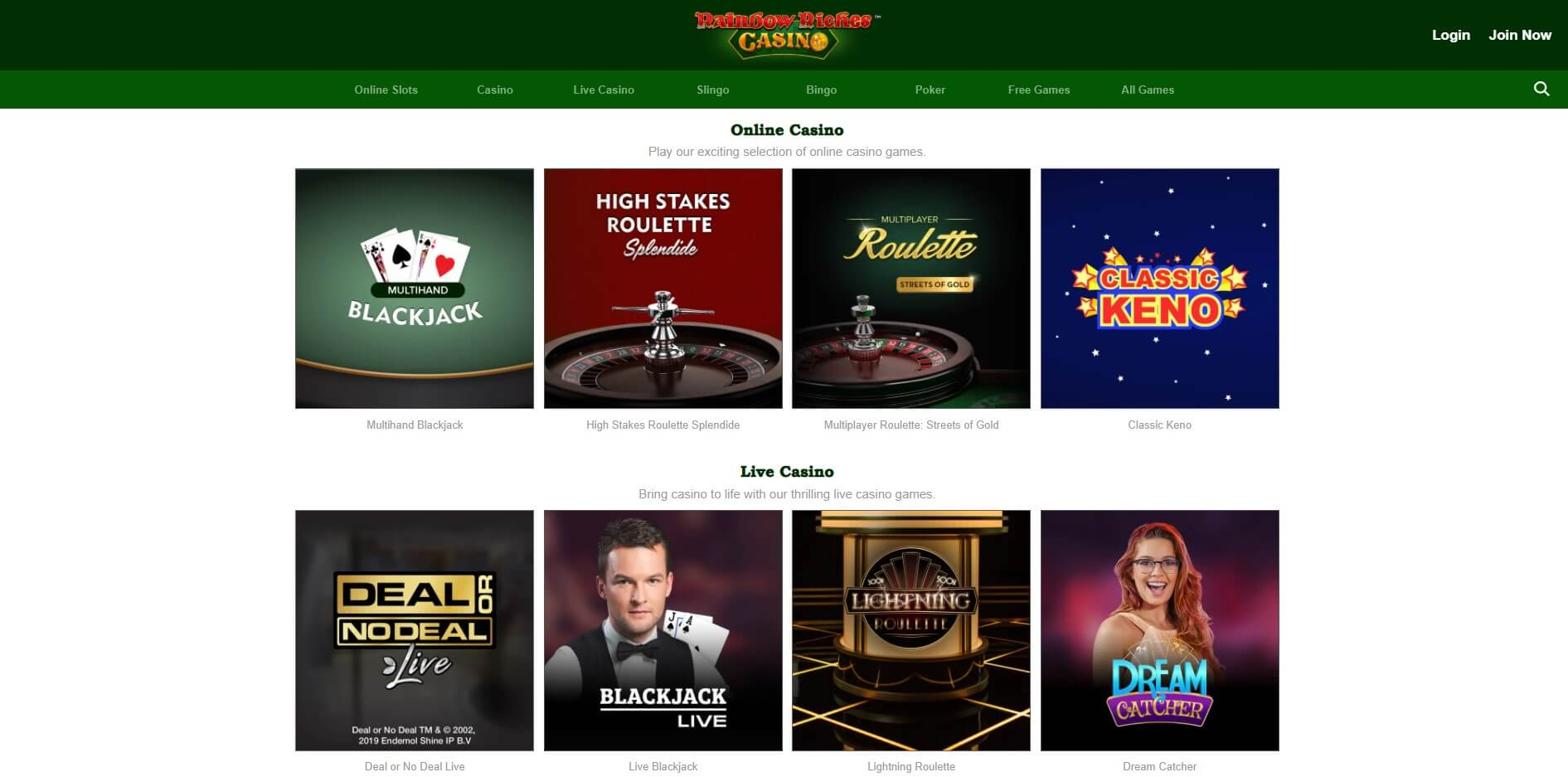 rainbow riches casino table games